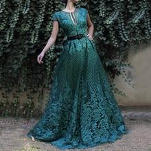 Green Dubai Sleeveless Handmade Flowers Prom Dresses 2020 Diamond Luxury Beach Prom Gowns Serene Hill BLA60759