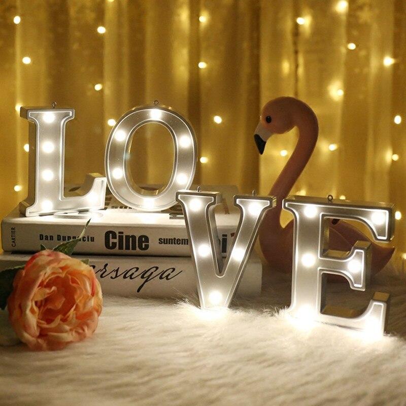 26 букв светодиодный ночник знаковое событие Алфавит настольная лампа на день рождения Свадебная вечеринка Спальня стене висят украшения