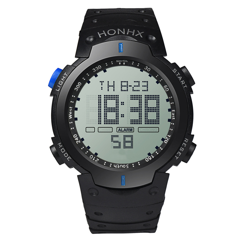 Multifunction Full Screen LED 30m Waterproof Black Silicone Strap Mens Outdoor Sports Electronic Digital Watch Wristwatch E69