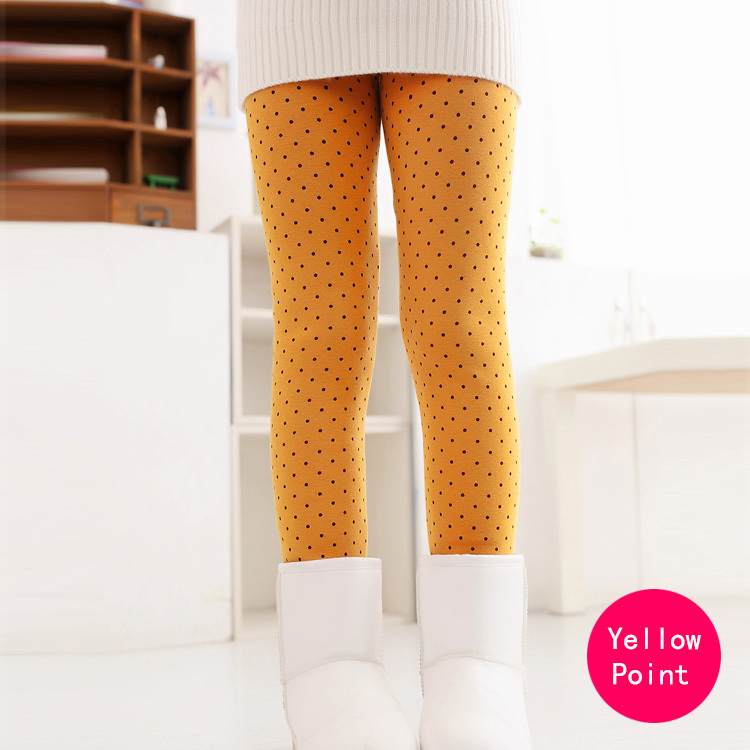 SheeCute/новые модные детские От 3 до 11 лет; сезон весна-осень-зима; теплые хлопковые брюки для девочек; детские брюки; леггинсы с принтом - Цвет: Yellow Point