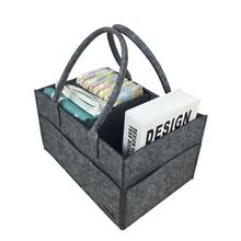 все цены на Foldable Basket Diaper Caddy Tote Bag Storage Bag Felt Organizer for Diaper Cosmetic Sundries Clothes Sock -Dark Grey/Light Grey онлайн