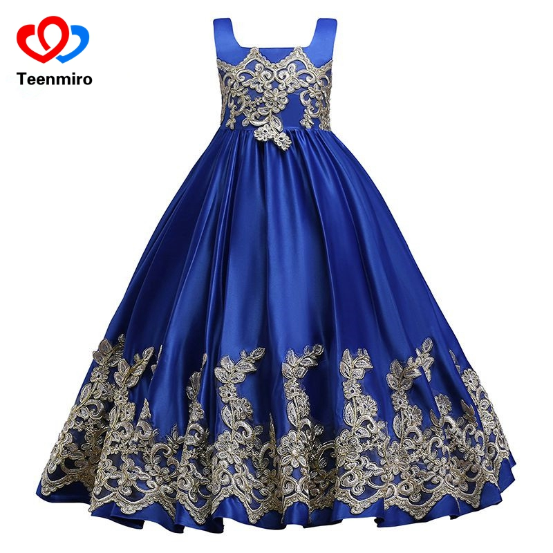 Royal Blue Flower Girls Embroidery Bow Dress Kids New Princess Wedding Party Pageant Formal Dresses Sleeveless Silk Tulle Gowns girls dress blue flower bow tie tulle party princess 2018 summer wedding dresses kids clothes size 4 12 pageant sundress