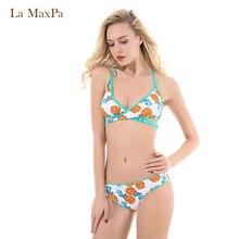 ФОТО bikini set women biquini striped swimsuit pineapple fruit flower swimwear bathing suits beach wear bathers swimsuit