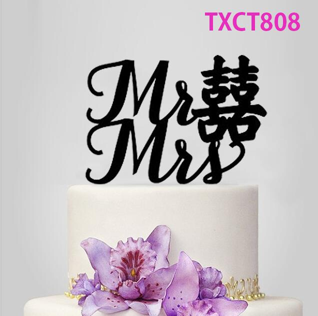 Free Shipping Mr & Mrs Black Acrylic Bride and Groom Wedding Cake Topper Chinese Style Wedding Cake Toppers