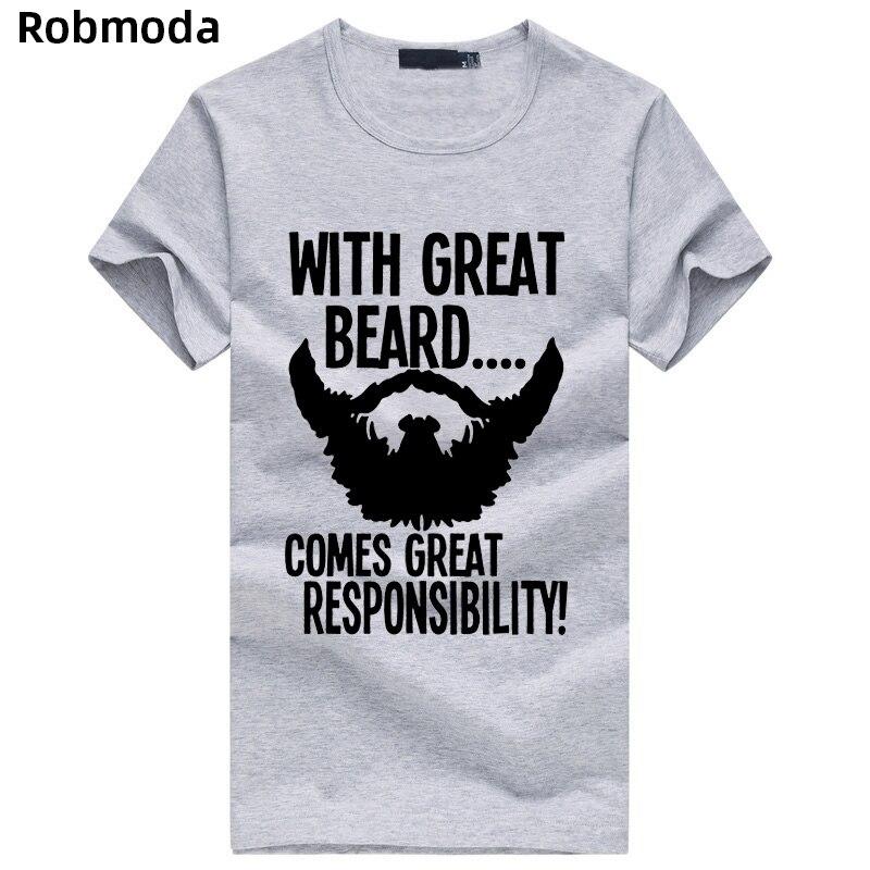 Mann der top Bärtige t-shirt Kommt Große Verantwortung Lustig männer T-shirt mode fitness tops t-stück beiläufige streetwear marke kleidung