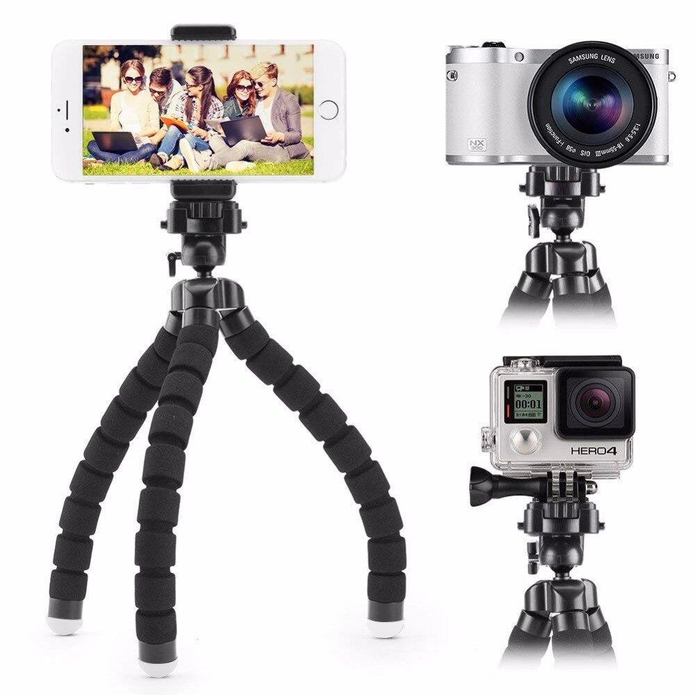 Jckel mini flexível esponja polvo tripé para iphone xiaomi huawei smartphone tripé para câmera gopro acessório com clipe de telefone