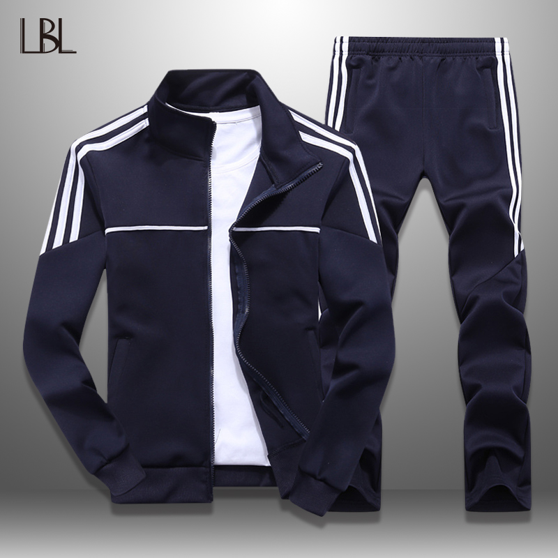 LBL Mens Tracksuit Striped Autumn Spring Slim Fit Men Sportswear Set Jogging Outwear Jacket Pants Two Piece Sets New 2019 Hombre