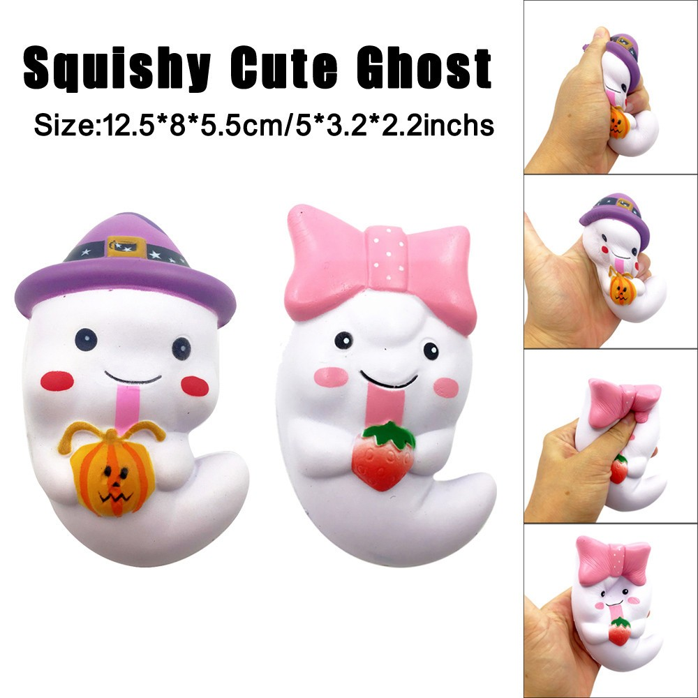 12cm Squishy Cute Ghost Squeeze Slow Rising Fun Toy Halloween Gift Phone Strap Stress Reliever Decompression Toys