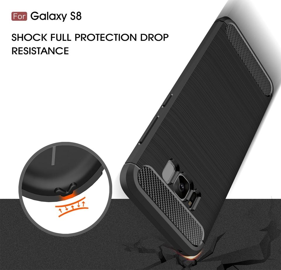 For Samsung Galaxy S8 Case Soft Silicone Brush Armour Shockproof - Բջջային հեռախոսի պարագաներ և պահեստամասեր - Լուսանկար 3