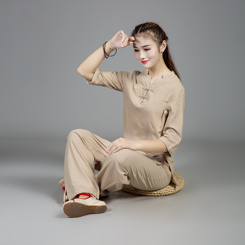 Cotton And Linen Yoga Kung Fu Clothing Men And Women Spring And Summer Tai Chi Uniforms Martial Arts Clothing Krijgskunst Set