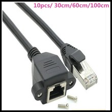 10pcs 0.3m/0.6m/1m Screw panel mount RJ45 Cat5 male to female LAN Network extension Cable with screws