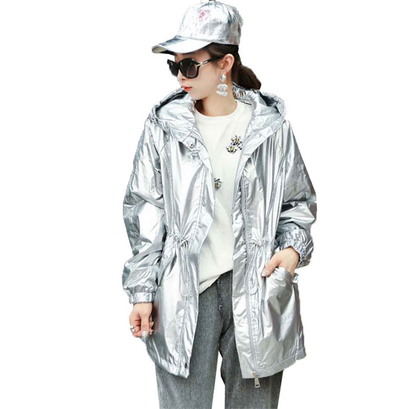 2019 New Hip hop style Women Jacket Autumn Gloss Silver Fashion Hooded Jacket Coats Ladies Adjustable