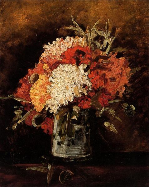 Van gogh oil painting flowers canvas wall art vase with carnations reproduction hand painted art gift