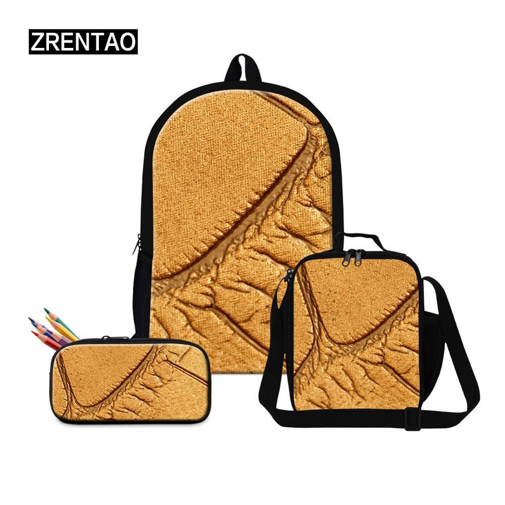 Ensemble de sac d'école de couleurs solides pour hommes et femmes 3 pièces/ensemble sac à dos pour étudiants moyen/élémentaire sac à dos pour étudiants en cuir Mochila