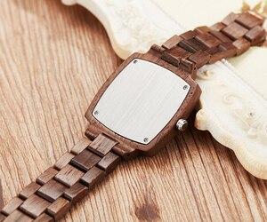 Image 5 - Ahşap sevgili saati erkekler kadınlar Lover hediye bilek saatler erkek kadın kahverengi ceviz ahşap kare Dial kuvars kol saati Reloj saat