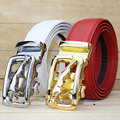 2016 Direct Selling Promotion Adult Cowskin Casual Solid White Red Black True Leather Buckle Automatic Men Belt