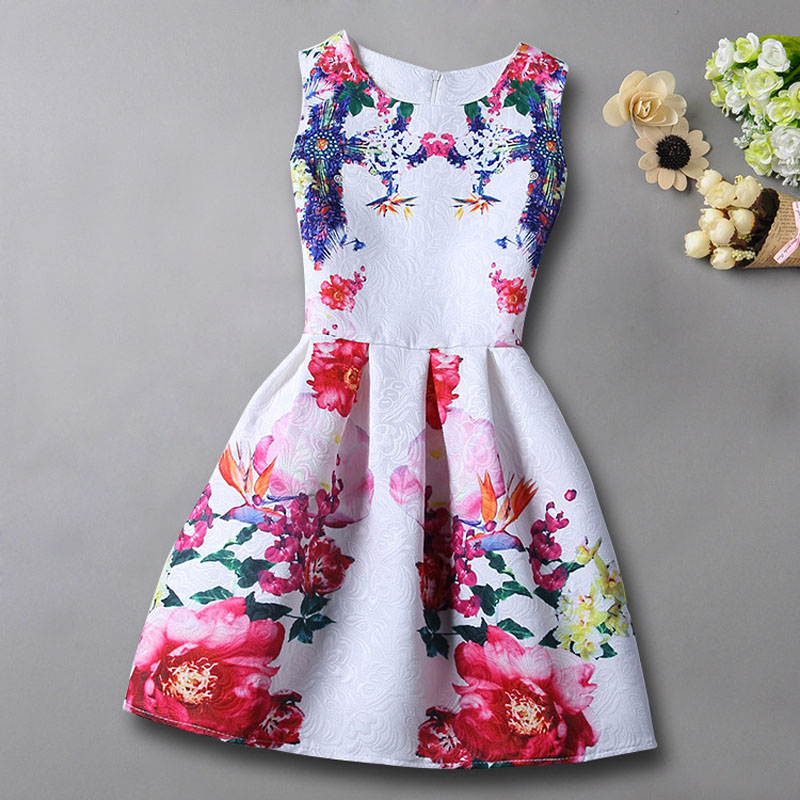 b8bebf32b CHINGROSA 2017 Cute Flowers Print Sleeveless Girls Dresses Floral ...