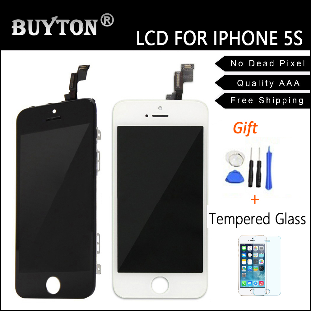 BUYTON 100%Brand New AAA+ LCD For iPhone 5s 5G LCD Display Touch full Screen Digitizer Assembly with Touch Screen+Gift