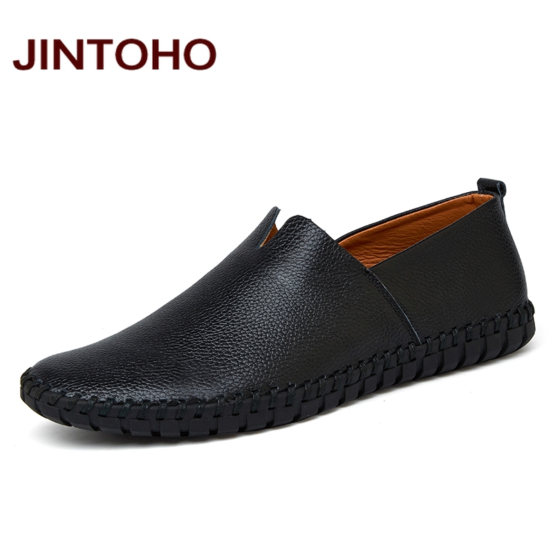 JINTOHO Big Size Men Genuine Leather Shoes Fashion Slip On Shoes For Men Italian Leather Men Loafers Brand Men Shoes