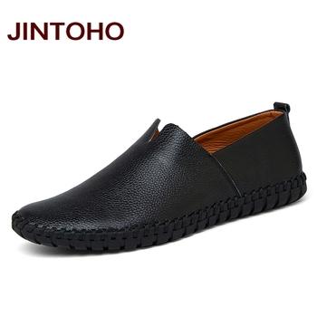 JINTOHO Big Size mężczyźni oryginalne skórzane buty modne buty wsuwane buty dla mężczyzn włoska skóra mężczyźni mokasyny męskie buty marki tanie i dobre opinie Prawdziwej skóry Skóra bydlęca RUBBER Wiosna jesień Dla dorosłych Podstawowe Pasuje prawda na wymiar weź swój normalny rozmiar