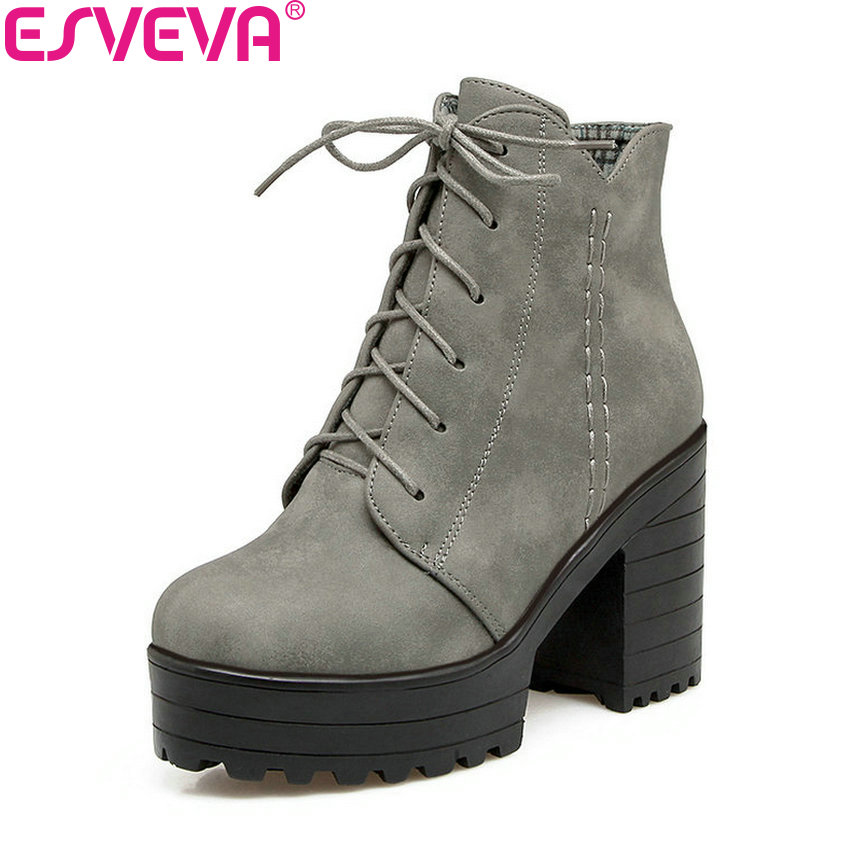 ESVEVA 2018 Comfortable Women Boots Square High Heel Ankle Boots Zippers Platform PU Leather Round Toe Ladies Shoes Size 34-43 nikove 2018 zippers solid women boots vintage style ankle boots square high heel square toe ladies fashion boots size 34 39