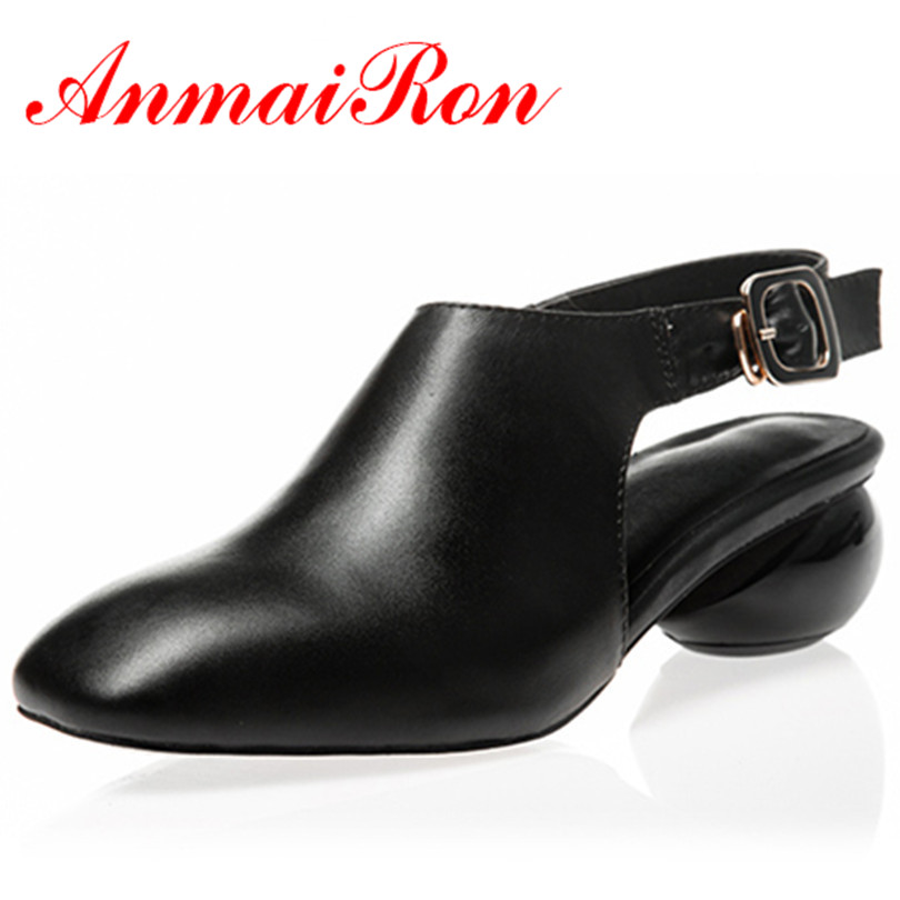 ФОТО ANMAIRON Women 2 Colors Elegant Full Grain Leather Spring and Autumn Shoes Wedding or Office Stranger Style Sandals Woman Shoes