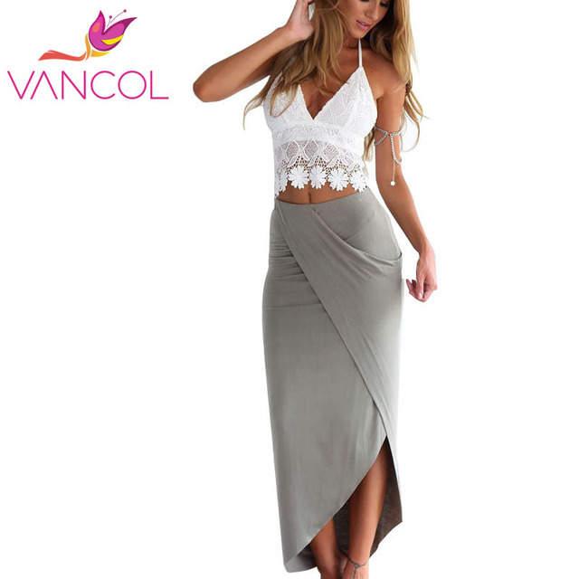 Vancol Summer Beach Dresses Lace Crop Top and Skirt Set Crocheted Open Back Top Pencil Cotton Slim Sexy Bohemia Ladies' Sets