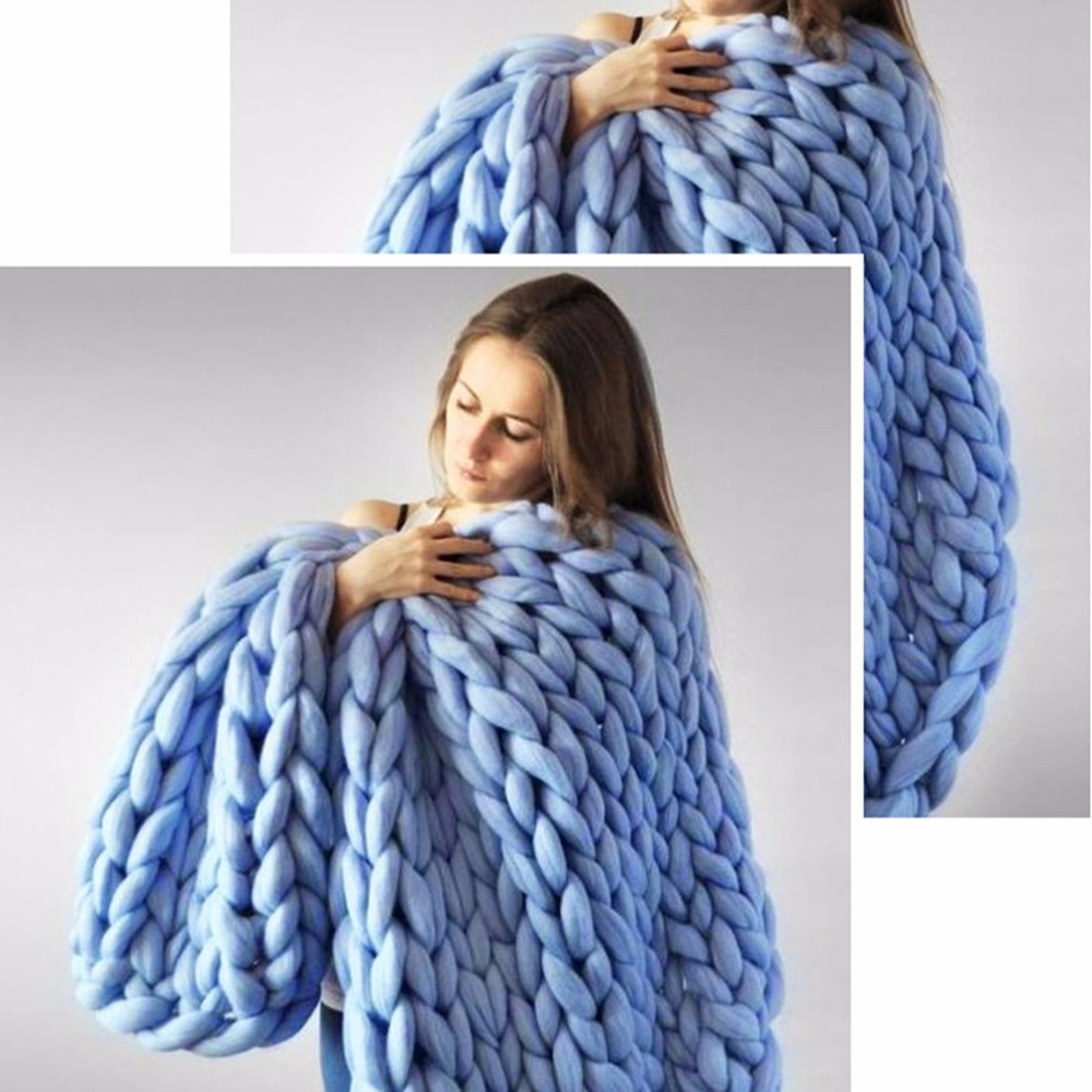 Hand Made Thick Knitting Line Braided Carpet Bedroom Rug Kids Soft Nap Blanket Natural And Warm Home Decor