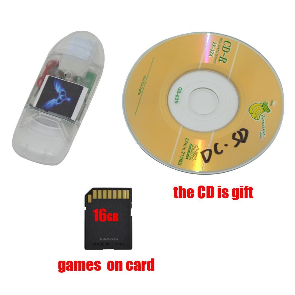 New For Sega DC SD Card Reader With Indicator Light Adapter Converter For DreamCast Game With Free 16GB SD Card