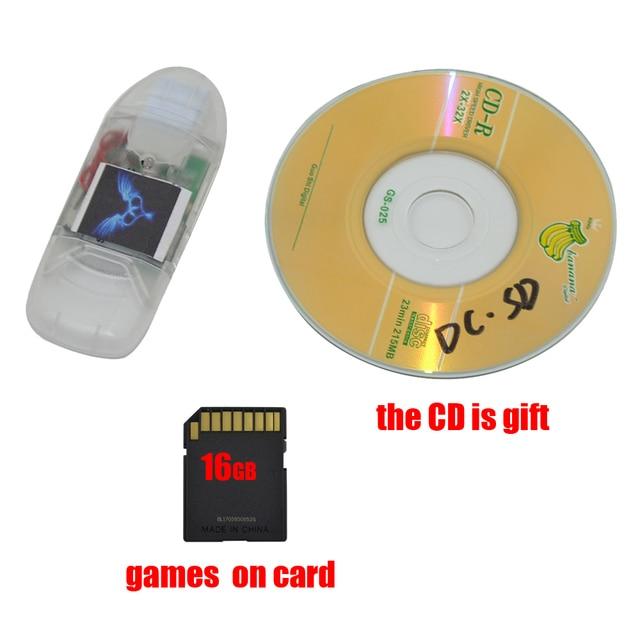 جديد ل Sega تيار مستمر قارئ البطاقات SD مع مؤشر مهايئ الضوء محول ل DreamCast لعبة مع بطاقة SD 16GB مجانية