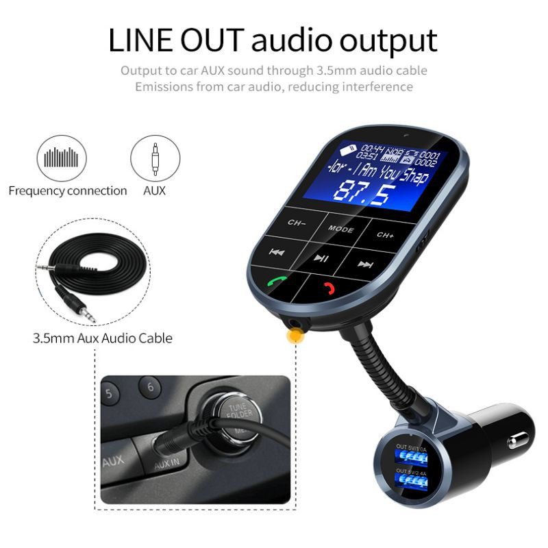 BC37 Bluetooth Car Transmitter FM Modulator Dual USB Fast Cargador AUX Wireless Audio TF U Disk MP3 Player Hands Free Car Kit