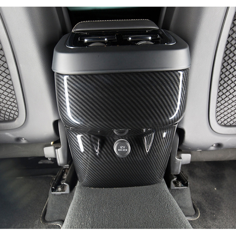 Carbon Fiber Color Center Armrest Rear Cigarette lighters Frame Cover Decoration Trim For <font><b>Volvo</b></font> <font><b>XC60</b></font> 2018 Interior Accessories image