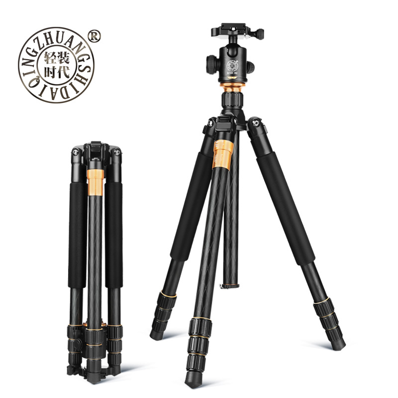 QZSD Q999 Portable Tripod For SLR Camera Tripod Ball Head Monopod Changeable Load Bearing 18KG 2015 hot qzsd q888 professional tripod for slr camera portable traveling tripod head monopod changeable free shipping