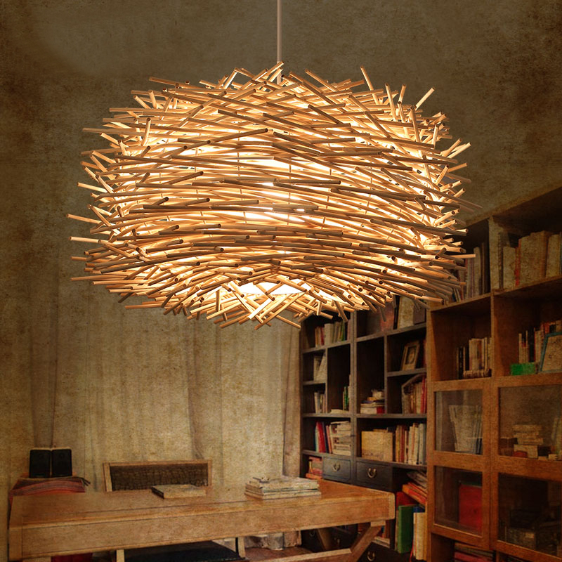 Aliexpress Modern Wicker Bird Cage Hand Knitting Pendant Light Fixture Southeast Cafe Bar Creative Rattan Weave E27 Bulb Lamp From