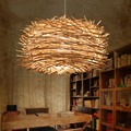 Modern Wicker Pendant Light Bird Cage Hand Knitting Pendant Hanging Lamp American Style for Living Room