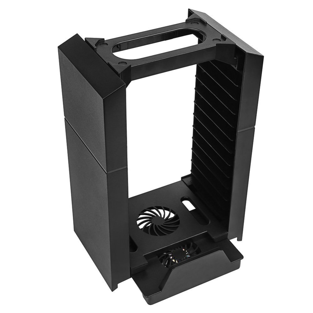 4 in 1 Multi-functional Game Disc Storage Holder Vertical Stand with Cooling Fan Controller Charging Station for PS4/PS4 SLIM