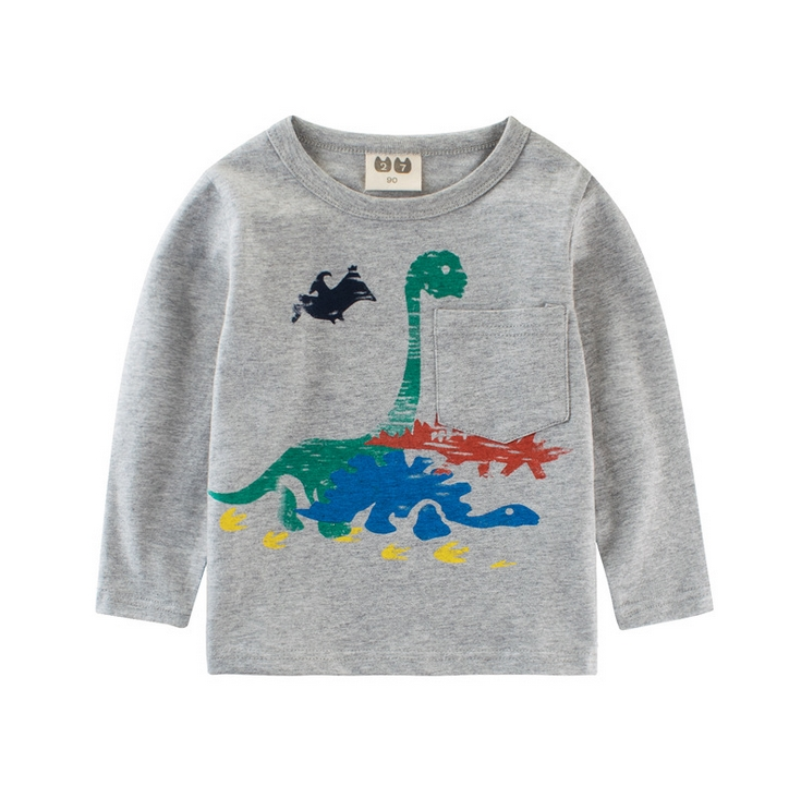 2017 Autumn baby girl t shirts cartoon dinosaur boys clothes long sleeve boys t shirt cotton children t-shirts kids clothes