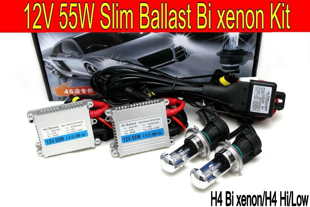 Livraison gratuite shipping12V 55 w H4 haute/basse luminosité xénon/Bi xénon HID H4 Kit de Conversion xénon 8000 K 4300 K 6000 K 10000 K phare de voiture