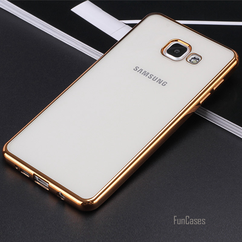 For <font><b>Samsung</b></font> <font><b>Galaxy</b></font> A3 <font><b>A5</b></font> A7 <font><b>2017</b></font> 2016 New Luxury Style Plating TPU Phone Case for A320F <font><b>A520F</b></font> A720 Silicone Soft Back Case Cover image