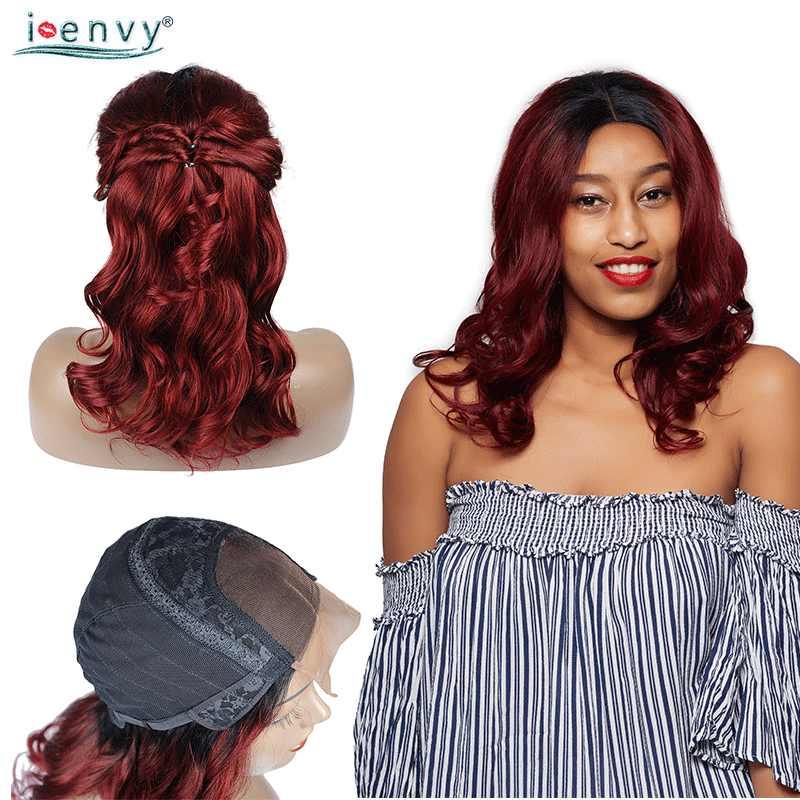 I Envy Ombre lace фронта человеческих волос парики перуанские 4X4 кружева закрытие бордовый парик свободная волна цветные 99J парики черные женщины не Реми