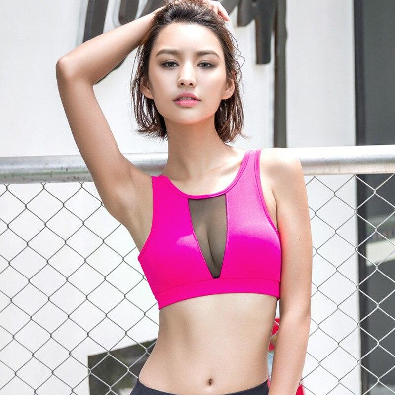 Prix pour 2016 Nouveau Style Rapide-séchage Antichoc Sport Bras Sexy Couleur Correspondant Reathable Net Fil Sport Yoga Fitness Bras