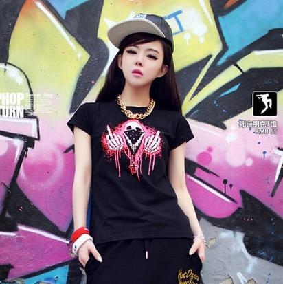 2015 Free Shipping Summer Style Girl T Shirt Hip Hop T Shirt Dance Wear Hiphop Women Short Shirt