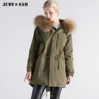 Women Oversize Parka Coat 90 White Duck Winter Jacket With Real Raccoon Fur Hooded Pockets Long