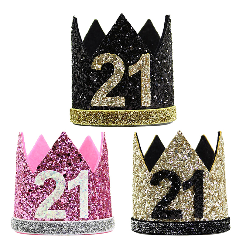 Beauty Girl 21st Birthday Hat Gold Balck Pink Priness Crown Number 21 Years Old Party Hats Glitter Queen Headband In From Home