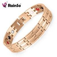 Men Jewelry Bracelet Stainless Steel Healing 4 Elements Magnetic Bracelets 8 5 OSB 689RGFIR With Rose
