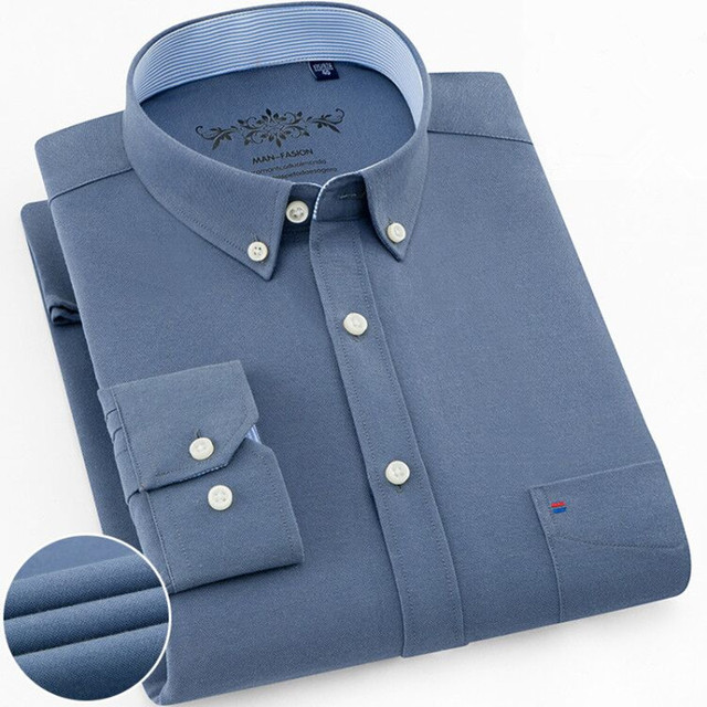 2019 Spring new solid mens cotton oxford shirts Casual Slim Fit men long sleeve dress shirts male shirt homme Plus Size S-4XL