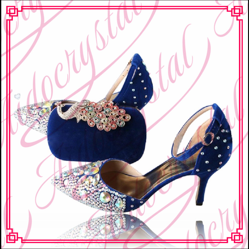 Aidocrystal African Style New design Royal blue italian shoes and bags to match women beautiful low heel dance shoes and bag set doershow african shoes and bags fashion italian matching shoes and bag set nigerian high heels for wedding dress puw1 19