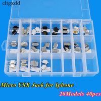 Cltgxdd 20Models 40pcs Micro USB Jack Socket Connector Charging Port For IPhone 4 4S 5 5G
