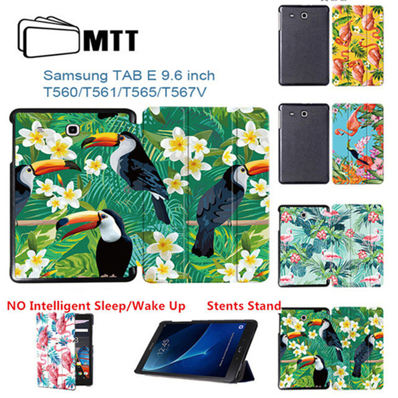 MTT Print Flamingo Tablet case For Samsung Galaxy Tab E 9.6 T560 SM-T561 T565 Case Fold Flip PU Leather Stand Protective Cover