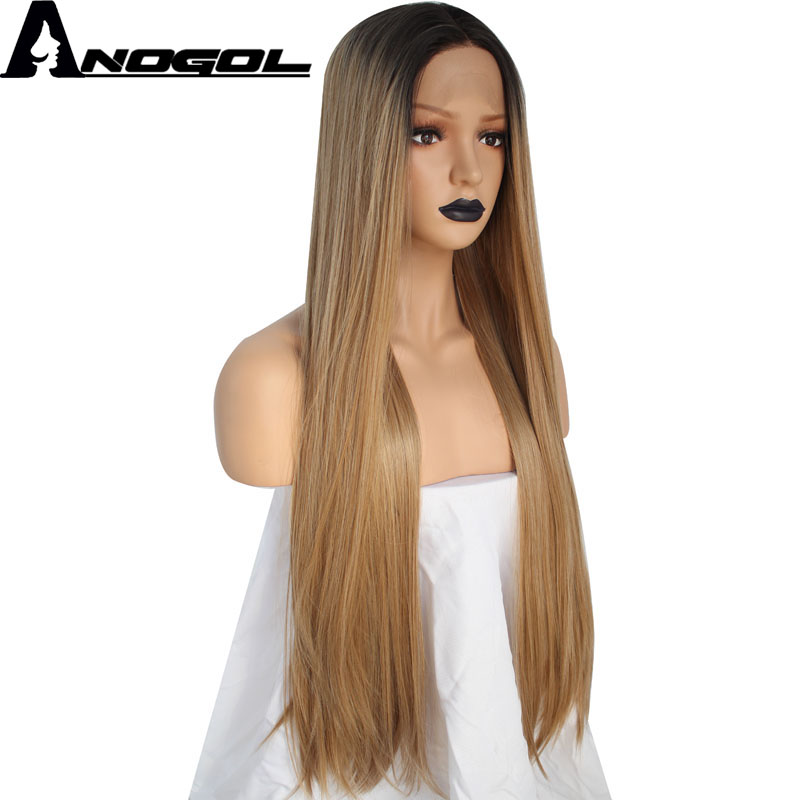 Anogol High Temperature Fiber Hair Middle Part Long Straight 2 Tones Dark Roots Ombre Blonde Synthetic Lace Front Wig For Women